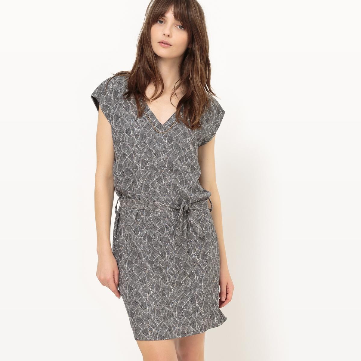 Платье с короткими рукавами и завязками на поясеМатериал : 5% эластана, 95% полиэстера Подкладка : 100% полиэстер Длина рукава : короткие рукава  Форма воротника : V-образный вырез Покрой платья : платье прямого покроя    Рисунок : принт   Длина платья : короткое<br><br>Цвет: рисунок пальмы