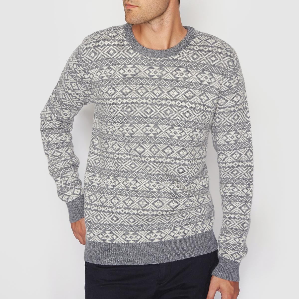 Пуловер жаккардовый с круглым вырезом