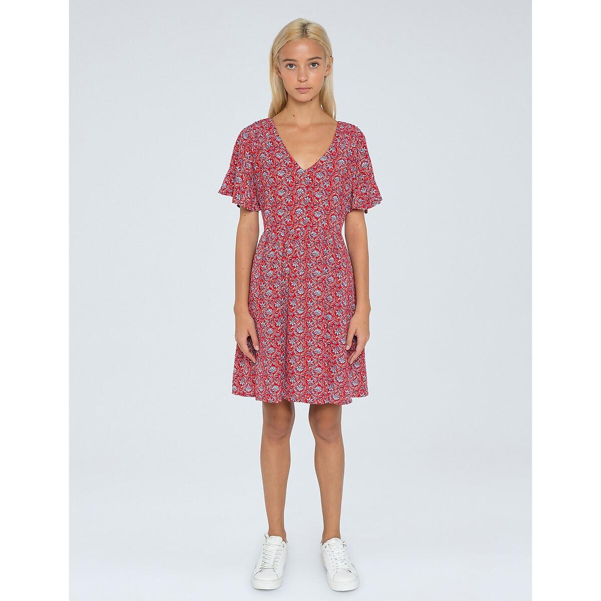Платье LaRedoute Короткое с рисунком V-образным вырезом и короткими рукавами L красный пуловер laredoute с короткими рукавами с бантиком сзади xl красный