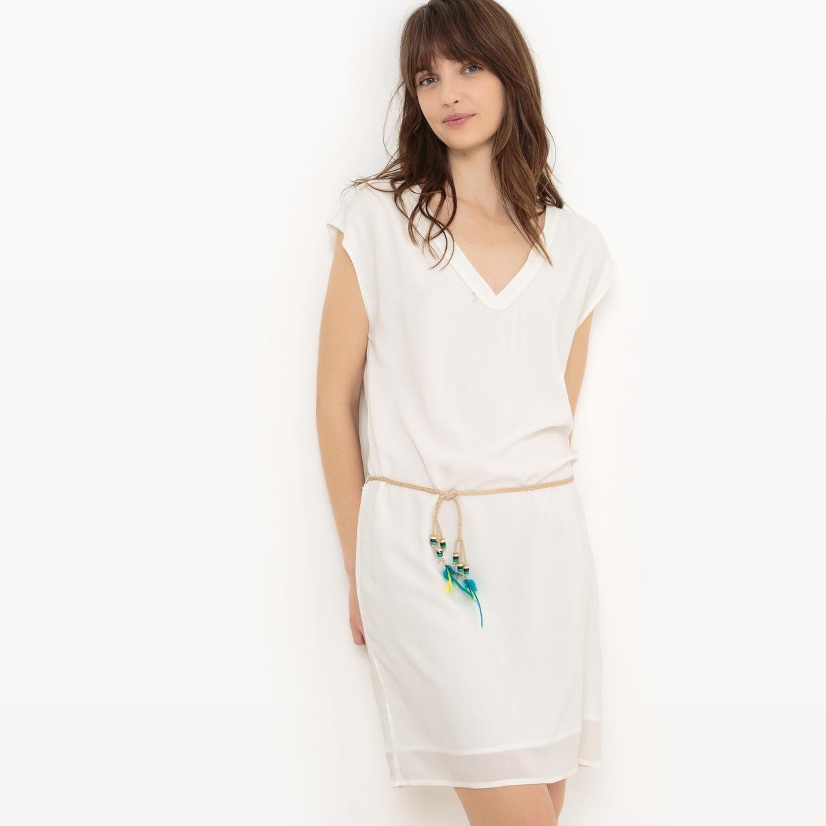 Платье с короткими рукавами и застежкой сзадиОписание:Детали   •  Форма : расклешенная   •  укороченная  •  Короткие рукава    •   V-образный вырез  Состав и уход   •  100% вискоза  •  Подкладка : 100% полиэстер• Просьба следовать советам по уходу, указанным на этикетке изделия<br><br>Цвет: белый