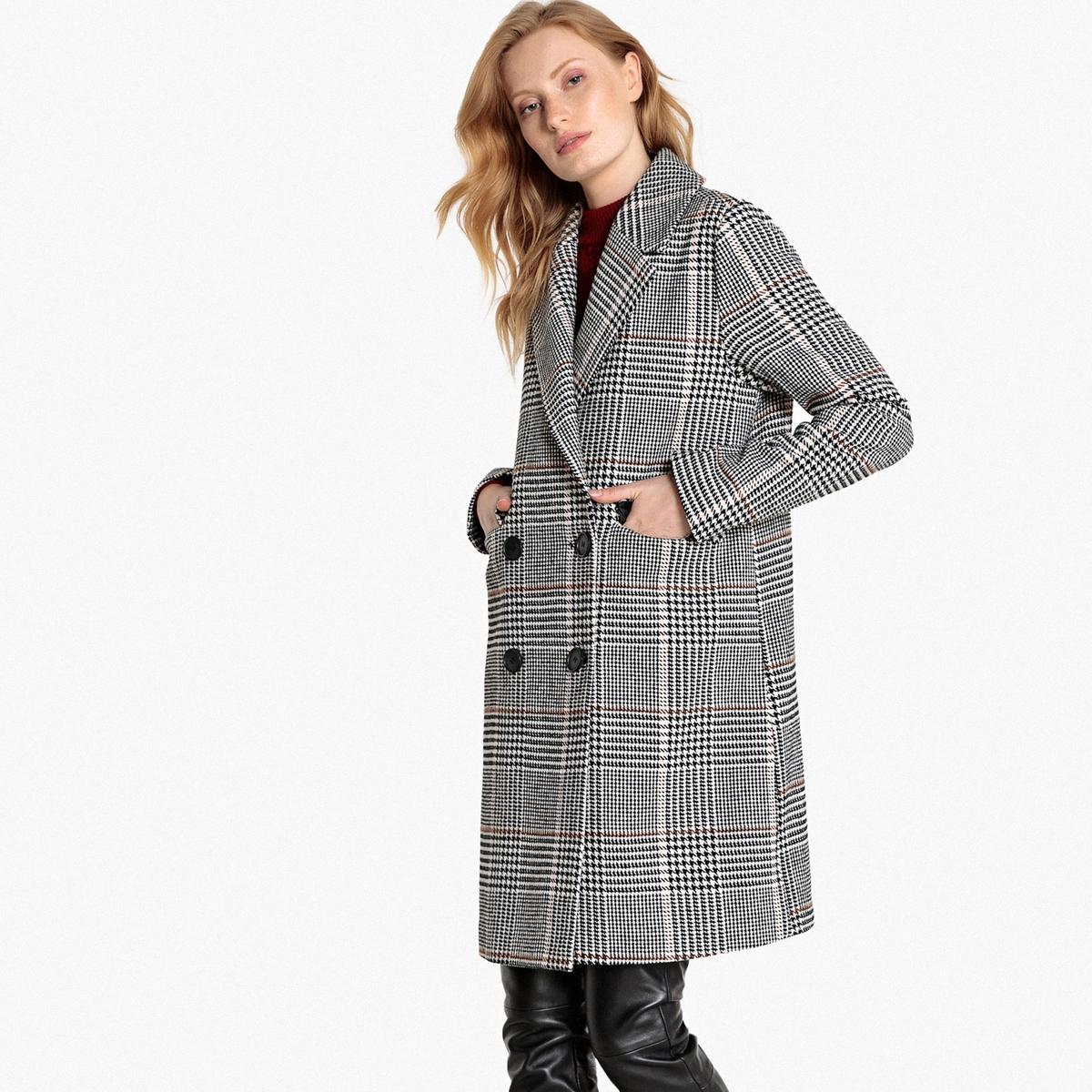 Пальто средней длины в клетку