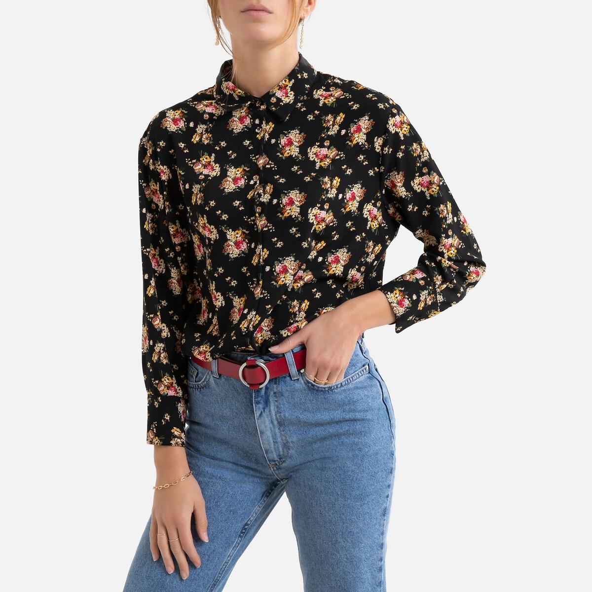 Блузка La Redoute С цветочным принтом и длинными рукавами S черный кардиган la redoute с длинными рукавами galinais s черный