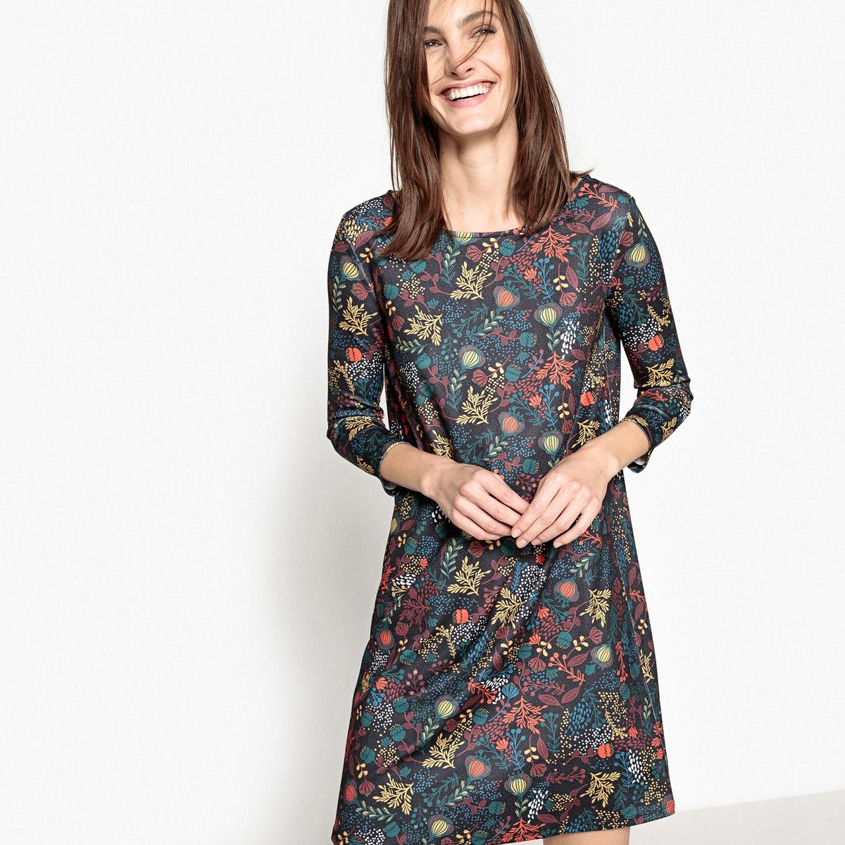 Платье с цветочным принтом, вырез-капля сзади