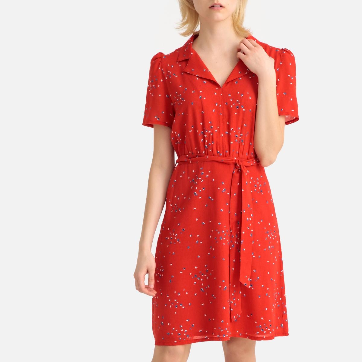 Платье-миди La Redoute Прямое с цветочным рисунком 50 (FR) - 56 (RUS) другие платье прямое с цветочным рисунком и контрастной полосой сзади