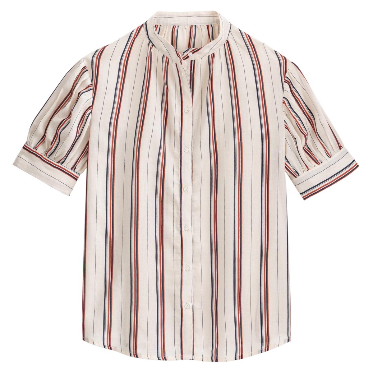 Camisa a rayas con cuello Mao, de manga corta