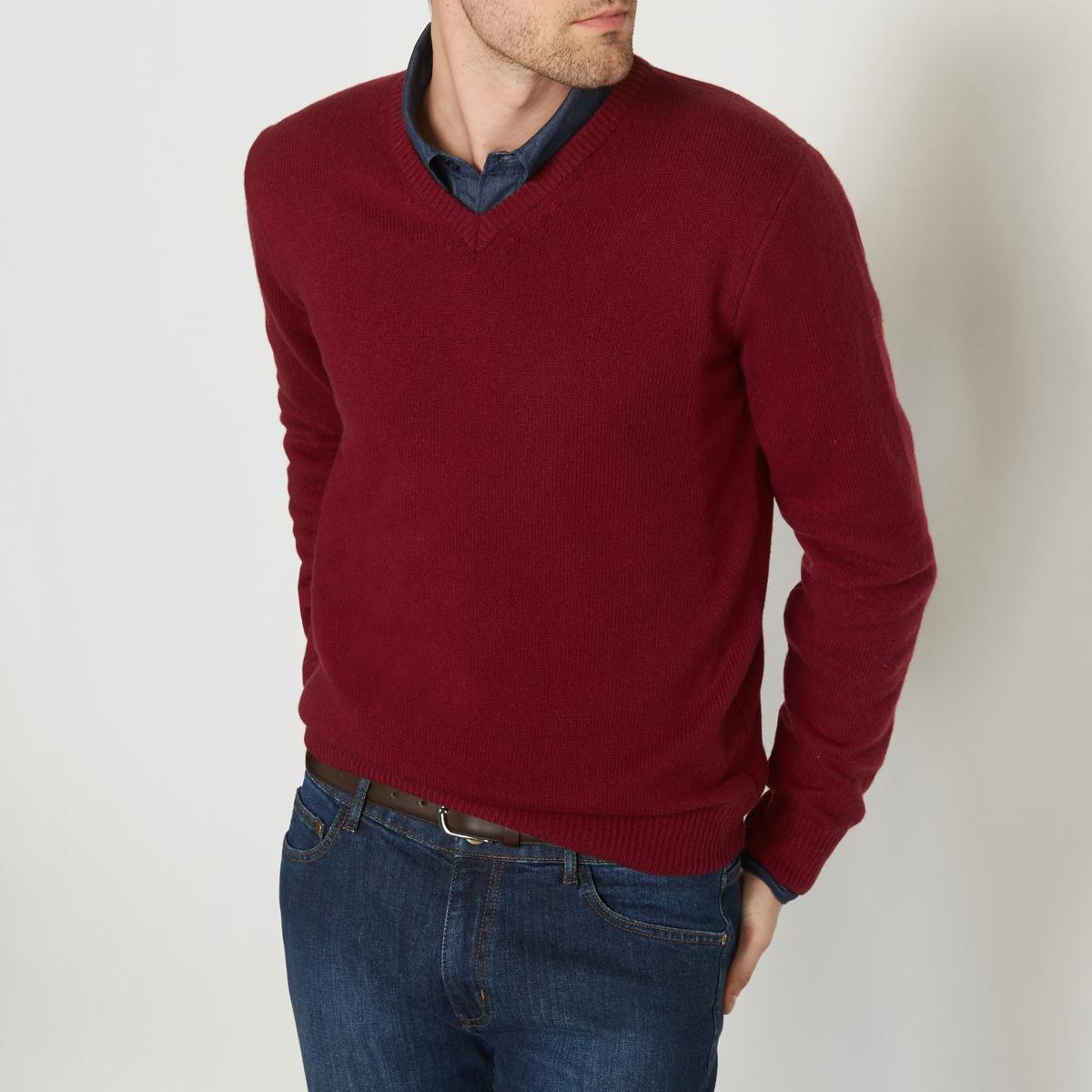 Пуловер с V-образным вырезом,  100% овечьей шерсти