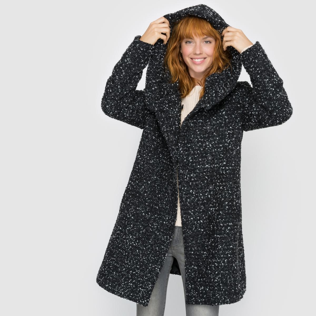 Пальто с капюшономОтличное оригинальное пальто с капюшоном из смесовой шерсти . Такое мягкое объемное пальто с большим капюшоном, что в него хочется укутаться и не снимать его !Детали •  Длина : средняя •  Капюшон •  Рисунок-принт • Застежка на пуговицы •  С капюшономСостав и уход •  35% шерсти, 65% полиэстера •  Следуйте рекомендациям по уходу, указанным на этикетке изделия<br><br>Цвет: черный меланж<br>Размер: S.XS.L
