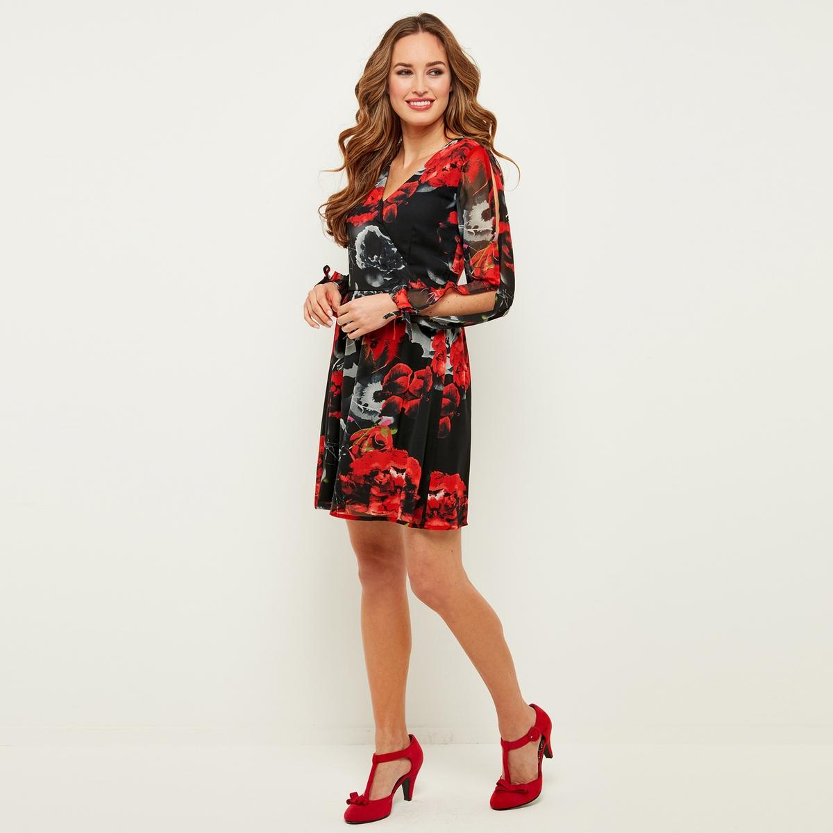 Платье с запахом, длинными рукавами и цветочным рисунком