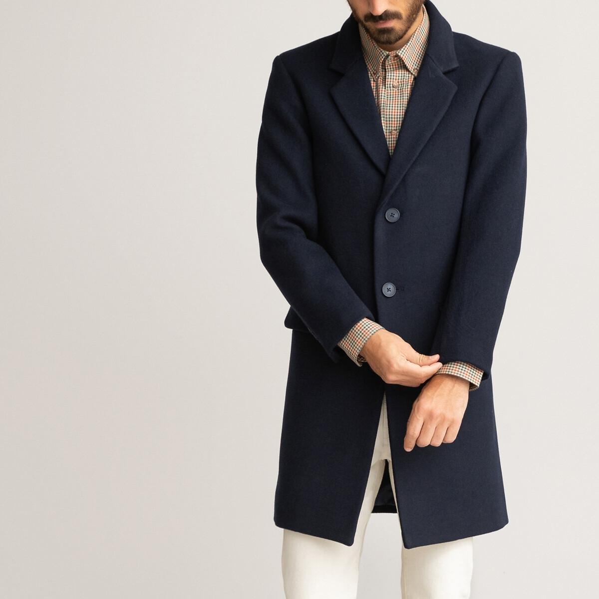 Пальто LaRedoute Средней длины с пиджачным воротником M синий