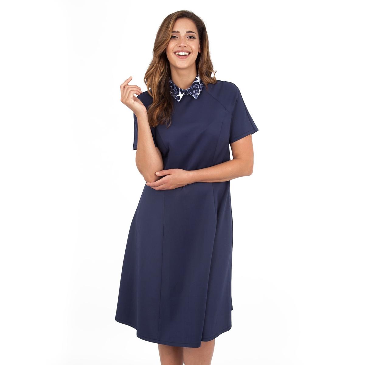 ПлатьеПлатье с короткими рукавами - KOKO BY KOKO. Воротник с узором. Длина ок.104 см. 100% полиэстера.<br><br>Цвет: синий морской<br>Размер: 58/60 (FR) - 64/66 (RUS)