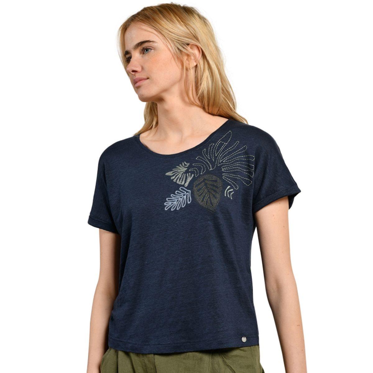 T-shirt en lin brodé MAEVA