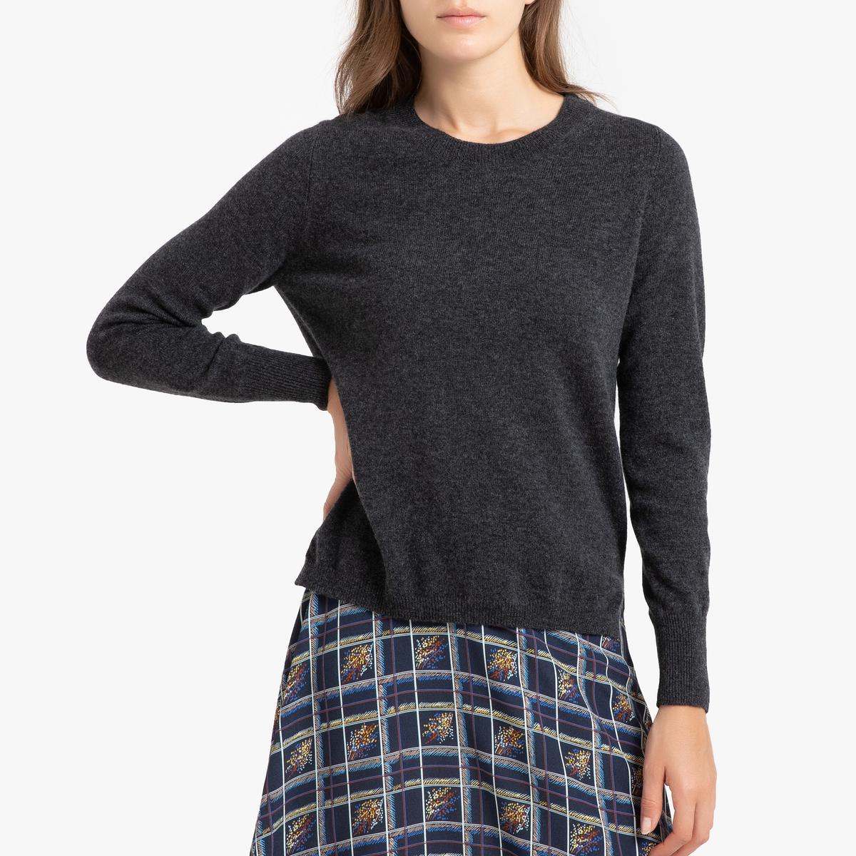 Пуловер La Redoute Кашемировый с круглым вырезом из тонкого трикотажа ROSE 3(L) серый свитшот la redoute с круглым вырезом и вышивкой s черный