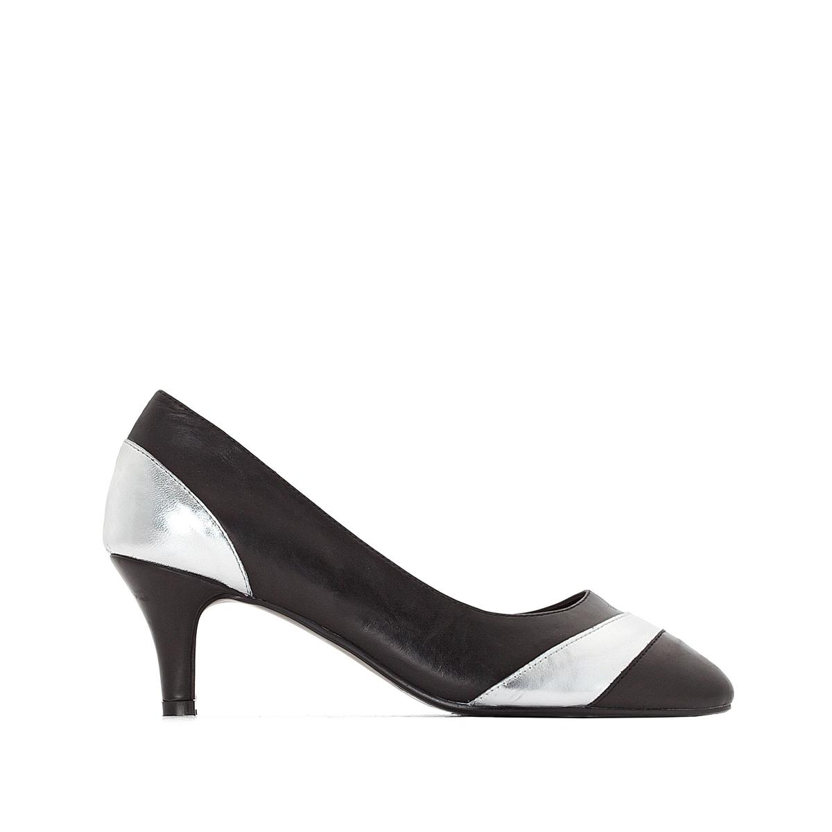 Туфли кожаныеДетали  •  Каблук-шпилька •  Высота каблука : 5,5 см •  Застежка : без застежки •  Круглый мысок •  Гладкая отделкаСостав и уход  •  Верх 100% кожа •  Подкладка 100% кожа •  Стелька 100% кожа<br><br>Цвет: черный<br>Размер: 38.35