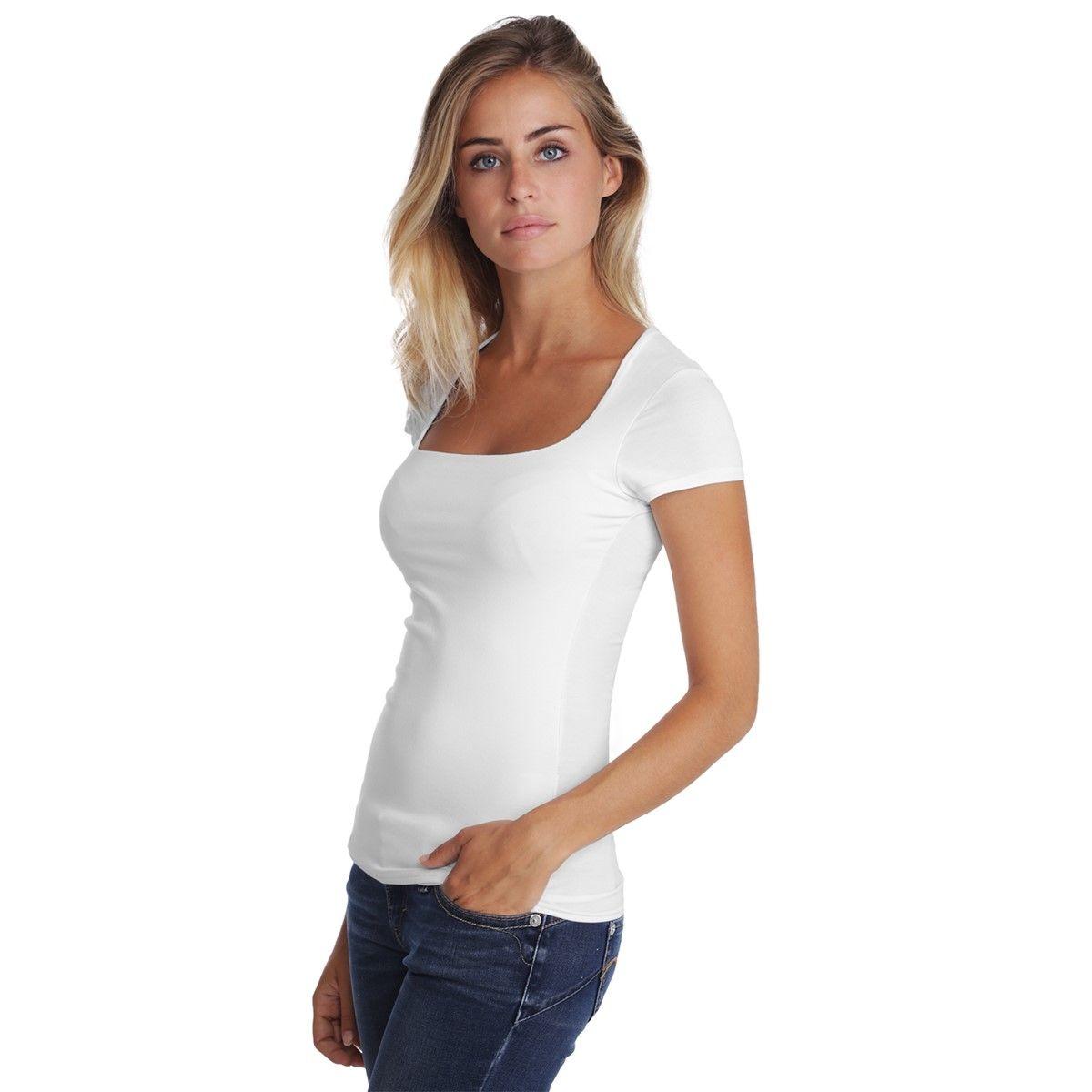 T-shirt col carré manches courtes capes en modal CLARA 02