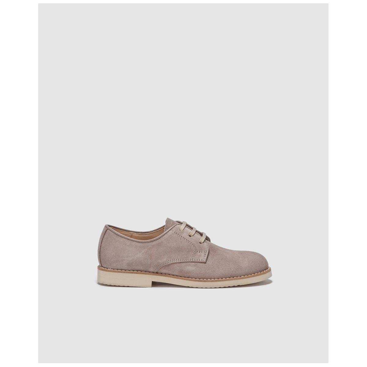Chaussures à lacets en croûte de cuir gris