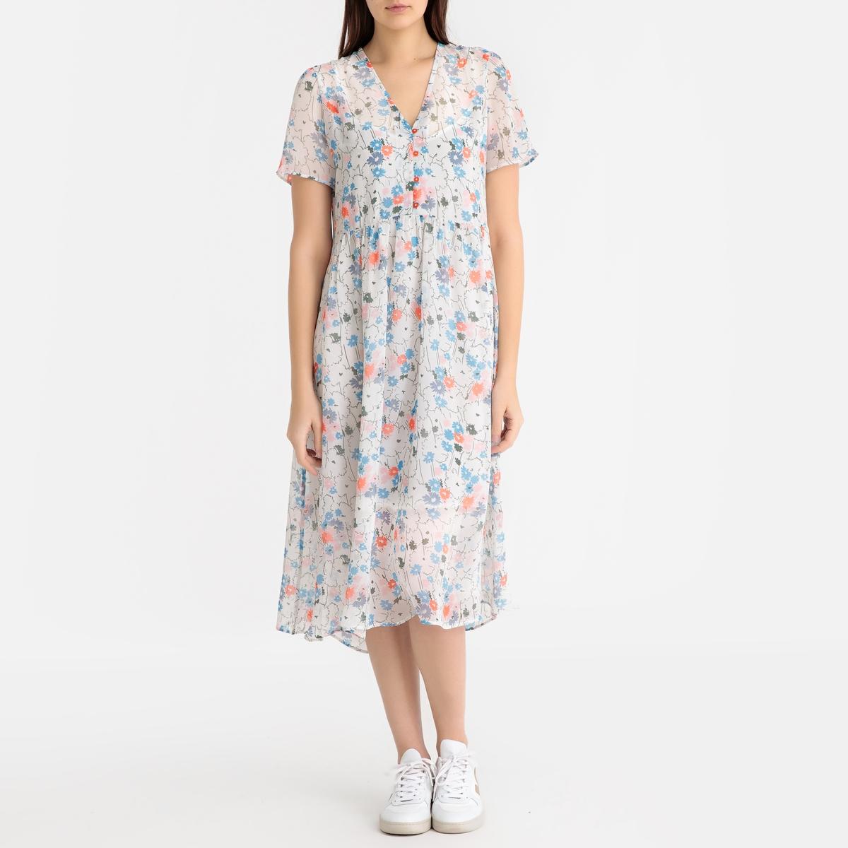 Платье La Redoute С цветочным рисунком и короткими рукавами XS каштановый