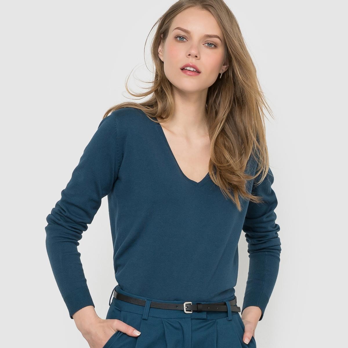 Пуловер с V-образным вырезомСостав и описание: Материал: 83% хлопка, 17% полиамида.Длина: 62 см.Марка: R ?dition.Уход:Машинная стирка при 30°C.<br><br>Цвет: сине-зеленый,черный<br>Размер: 38/40 (FR) - 44/46 (RUS)