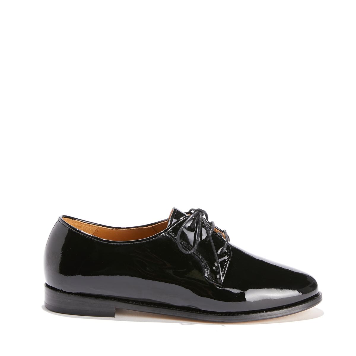 Ботинки-дерби на шнуровке из лакированной кожи от La Redoute