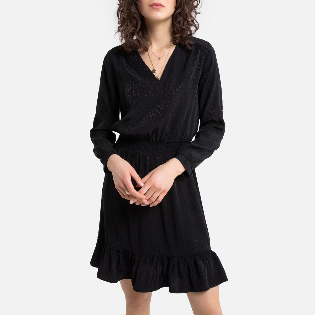 цена Платье La Redoute Короткое с длинными рукавами Radmila L черный онлайн в 2017 году