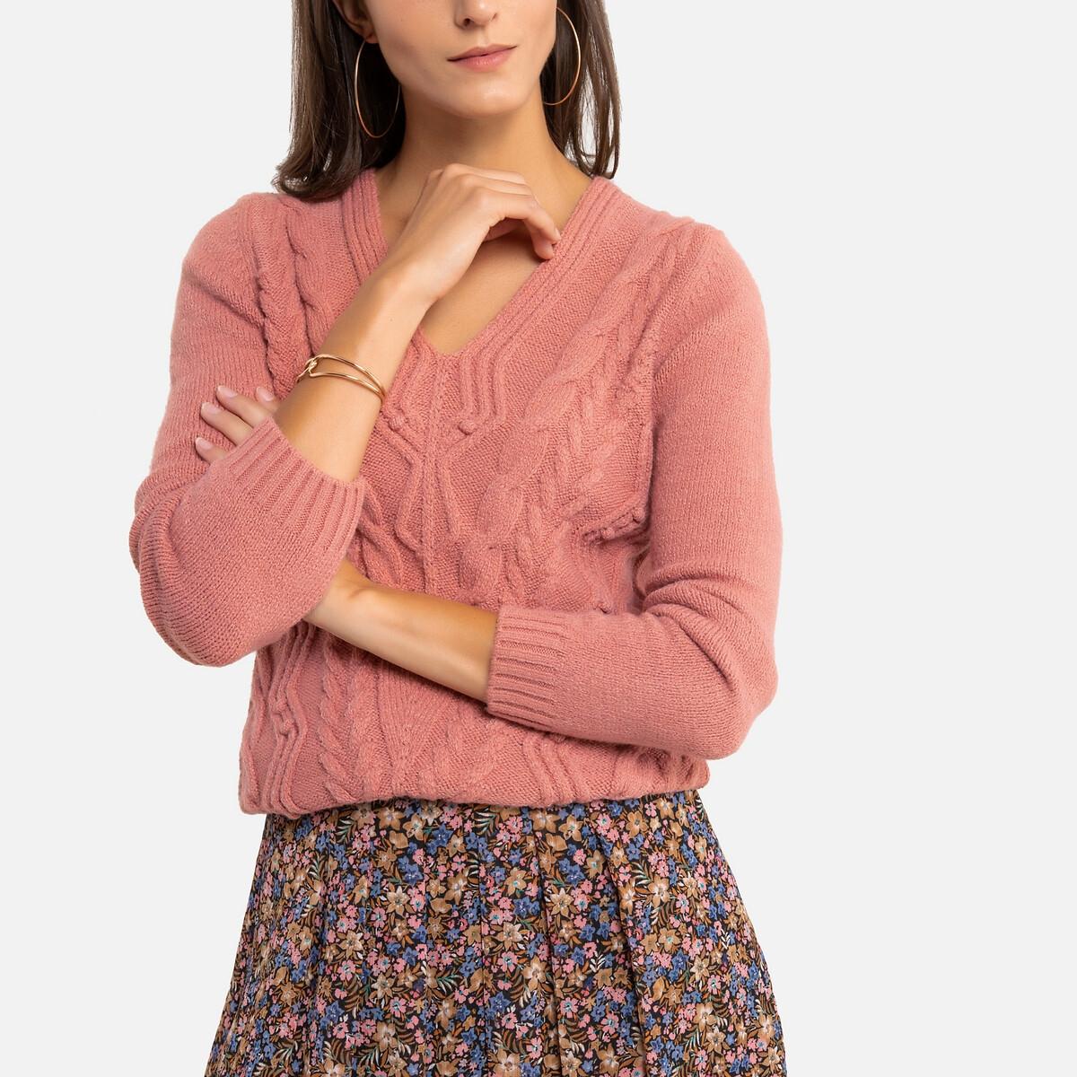 Пуловер LaRedoute С V-образным вырезом из плотного плетеного трикотажа 46/48 (FR) - 52/54 (RUS) розовый пуловер la redoute с открытыми плечами из плотного трикотажа с узором косы 40 fr 46 rus зеленый