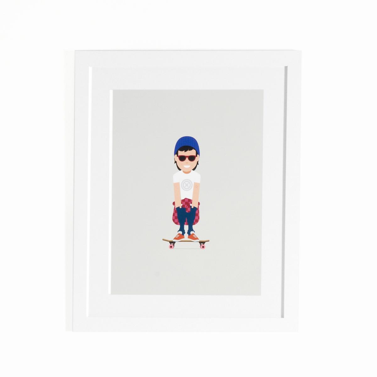 Плакат в рамке скейтеры CoriamaiПлакат в рамке Coriamai . Изображение детей, занимающихся спортом ! 6 плакатов с симпатичным стилизованным изображением для декора комнаты в современном и веселом стиле (другие модели продаются на нашем сайте).Характеристики : - Плакат из офсетной бумаги 170г/м2 с навесом - Рамка из ДСП - Стекло из плексигласа - Крючки для крепления на стену (саморезы и дюбели не входят в комплект)Размеры : - Дл40 x Выс50 см<br><br>Цвет: разноцветный