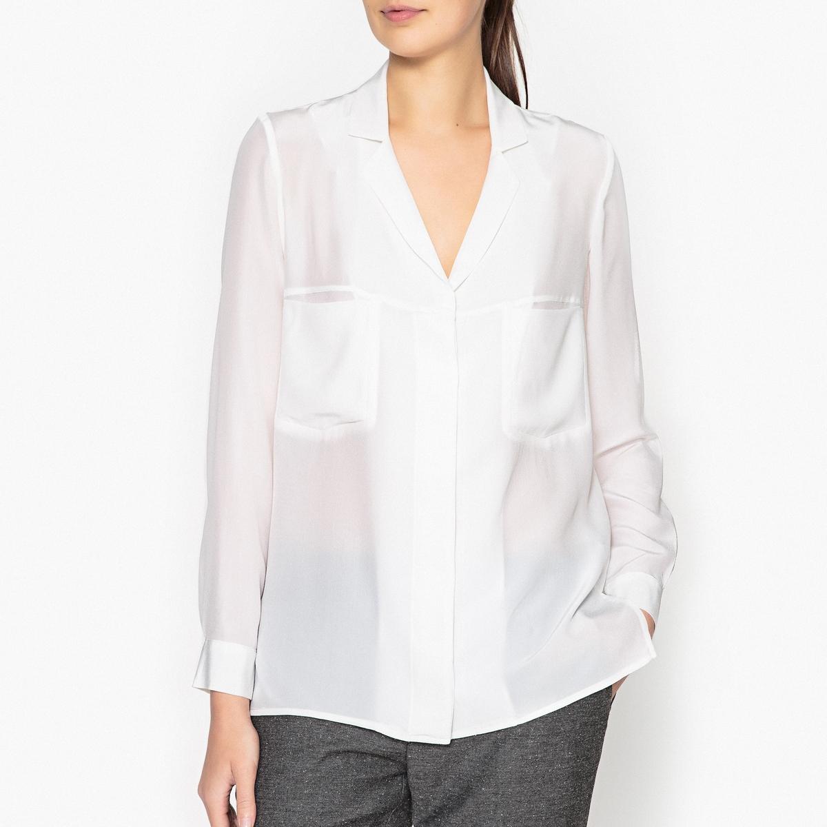 Рубашка GASPARDОписание:Рубашка с длинными рукавами MARGAUX LONNBERG - модель GASPARD из 100% шелка с нагрудными карманами.Детали •  Длинные рукава •  Прямой покрой •   V-образный вырезСостав и уход •  100% шелк •  Следуйте советам по уходу, указанным на этикетке<br><br>Цвет: белый<br>Размер: 36 (FR) - 42 (RUS)