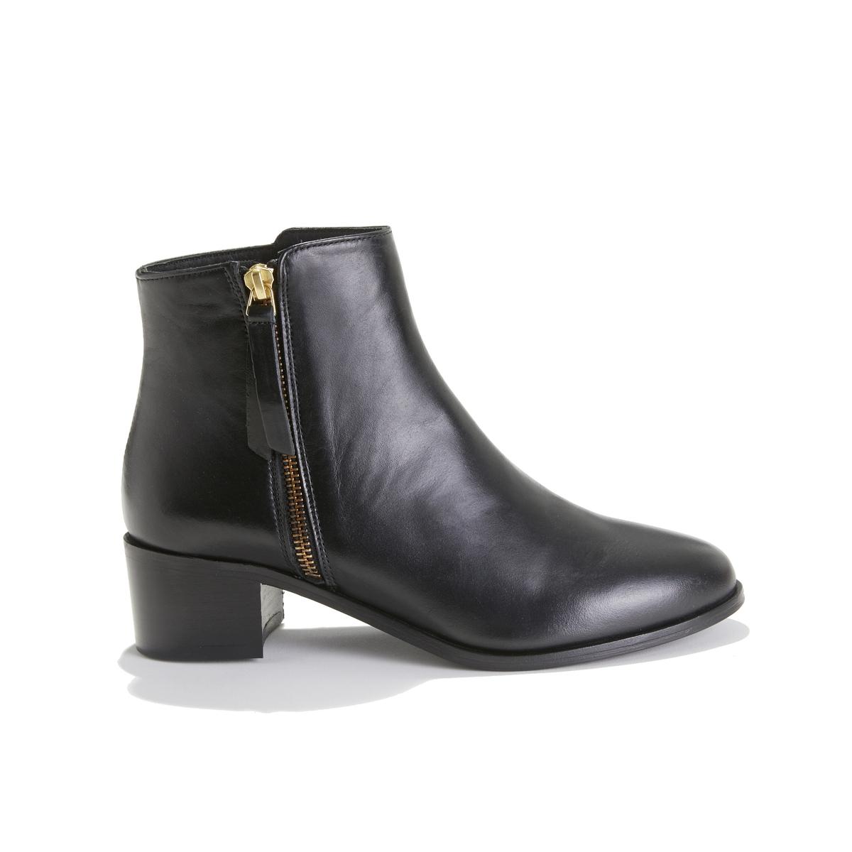 Ботильоны La Redoute Кожаные на молнии на среднем каблуке LA FOUGUEUSE 38 черный цены онлайн