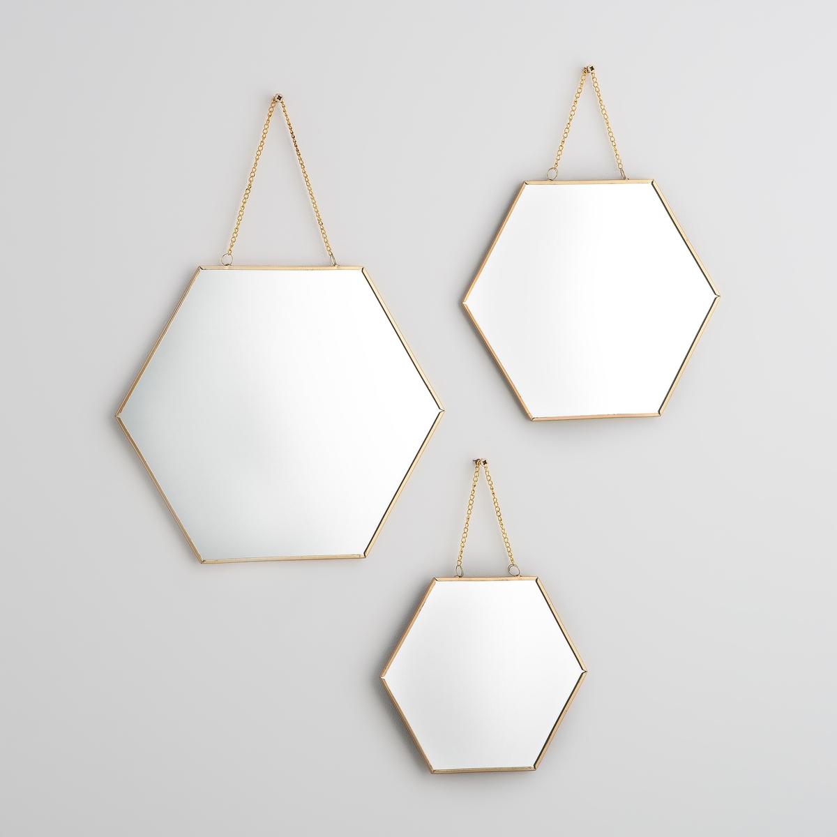 3 зеркала прямоугольных позолоченных, NÉO