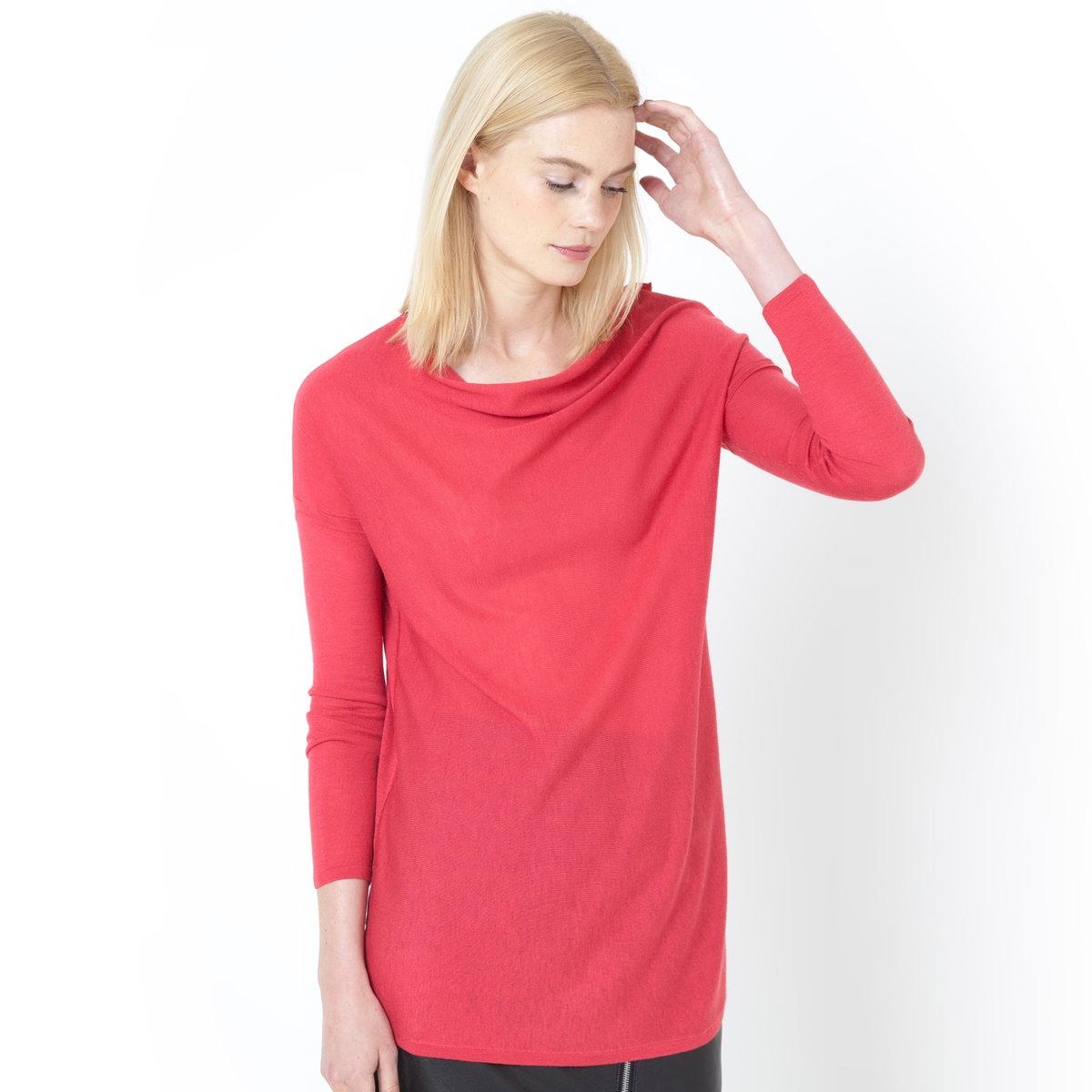 Пуловер с драпировкой на вырезе<br><br>Цвет: розовый<br>Размер: 50/52 (FR) - 56/58 (RUS)