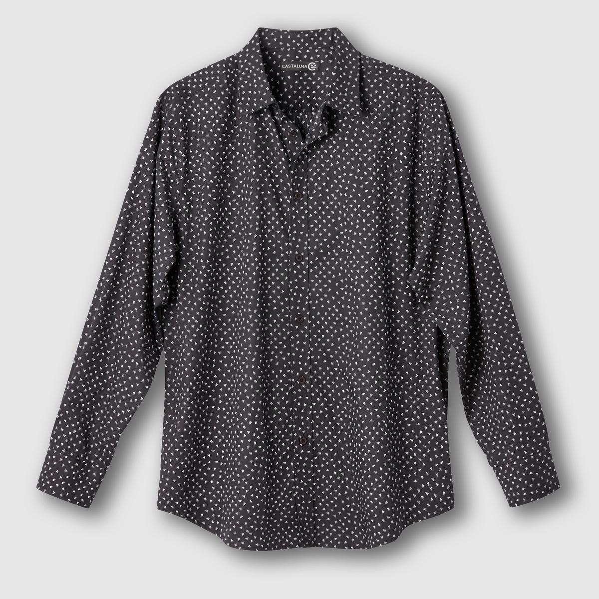 Рубашка с цветочным принтомРубашка с цветочным принтом. Длинные рукава. Воротник со свободными уголками. Складка сзади и петля для вешалки. Закругленный низ. Поплин, 100% хлопка. Длина 83 см.<br><br>Цвет: антрацит,бордовый<br>Размер: 51/52.55/56