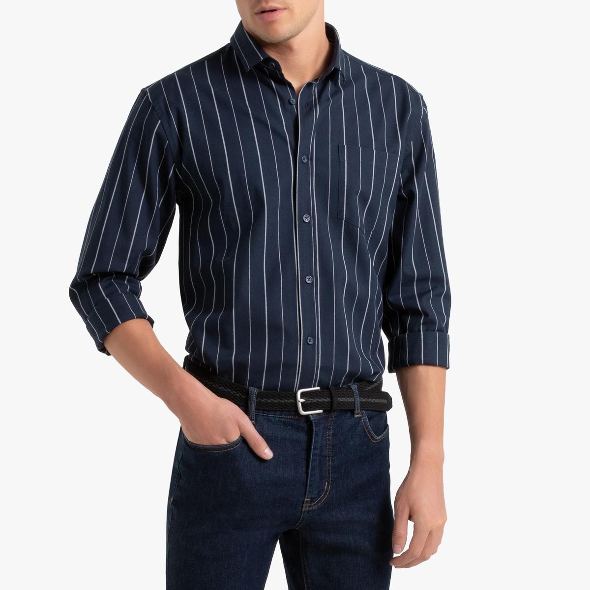 Camisa a rayas, corte recto de manga larga