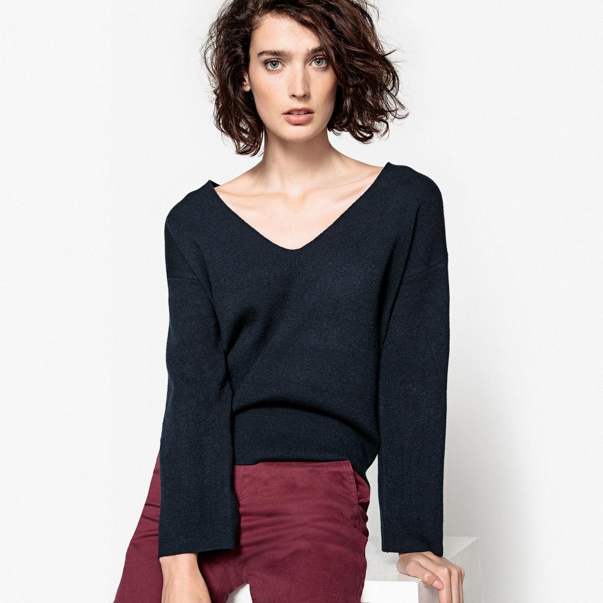 Пуловер из вискозы, с V-образным вырезом пуловер из плотного трикотажа с v образным вырезом