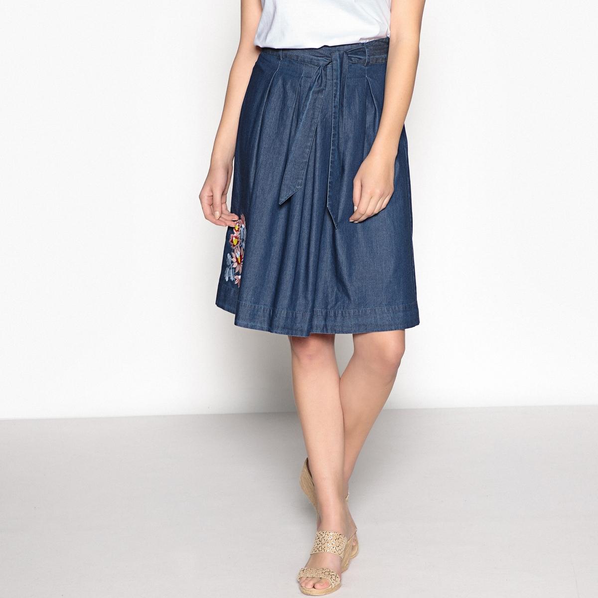 Юбка расклешенная с вышивкой из струящейся джинсовой ткани юбка короткая из джинсовой ткани
