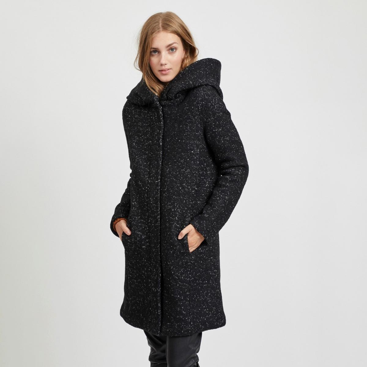Пальто La Redoute Длинное с капюшоном 34 (FR) - 40 (RUS) черный платье la redoute длинное с цветочным рисунком и напускным эффектом 34 fr 40 rus черный