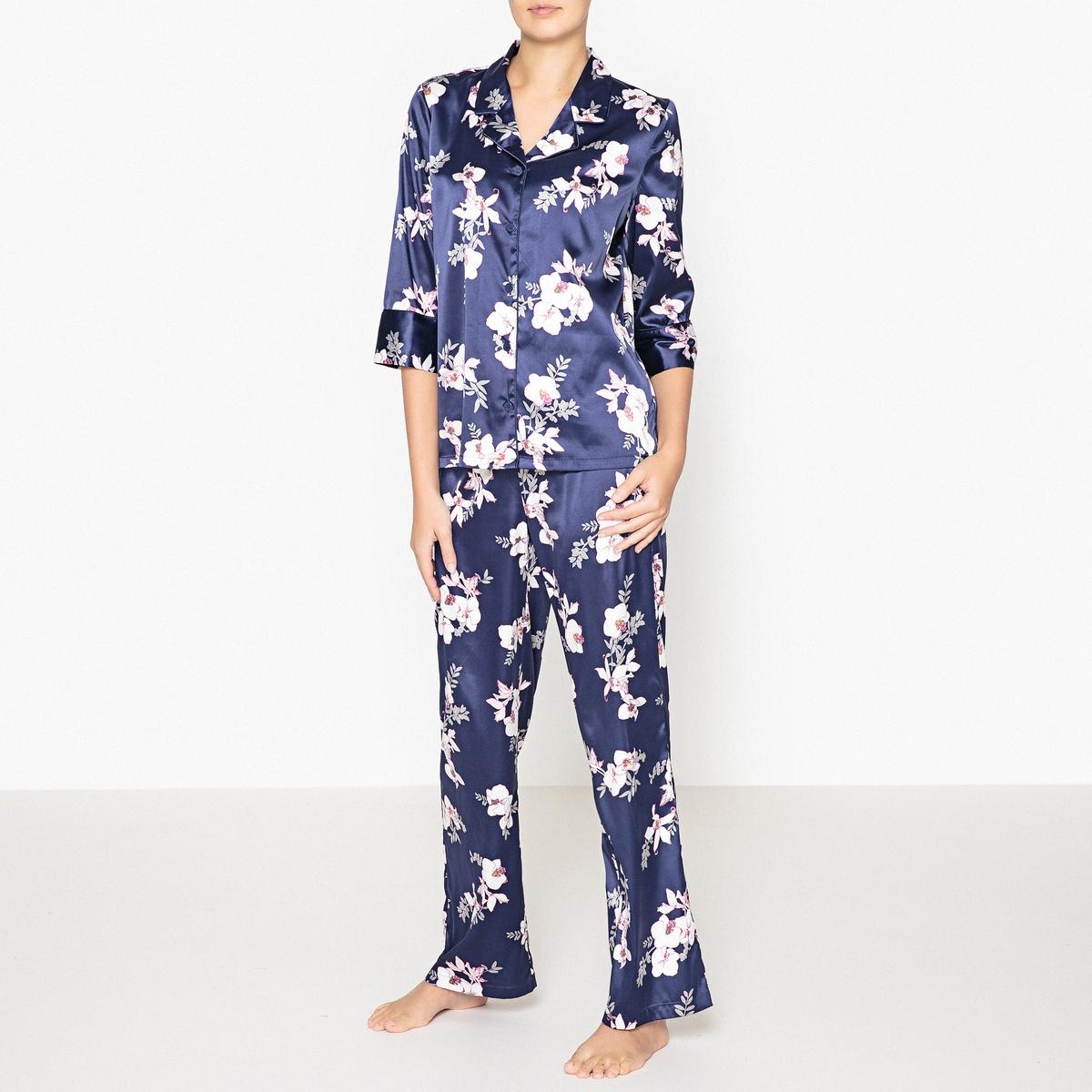 Пижама в винтажном стилеПижама в винтажном стиле с цветочным рисунком, Louise Marnay.Пижама из 2 предметов прямого покроя из  сатина с цветочным рисунком в винтажном стиле. Верх: рукава 3/4. Брюки с эластичным поясом на завязках. Состав и описание : Материал : 96% полиэстера, 4% эластанаДлина :Верх : 65 смПо внутр.шву : 76 смМарка : Louise Marnay.Уход:Машинная стирка при 30 °С на деликатном режиме с вещами схожих цветов.Стирать и гладить при низкой температуре с изнаночной стороны.Машинная сушка запрещена.<br><br>Цвет: цветочный рисунок<br>Размер: 52 (FR) - 58 (RUS).38 (FR) - 44 (RUS).46 (FR) - 52 (RUS).42 (FR) - 48 (RUS).40 (FR) - 46 (RUS)