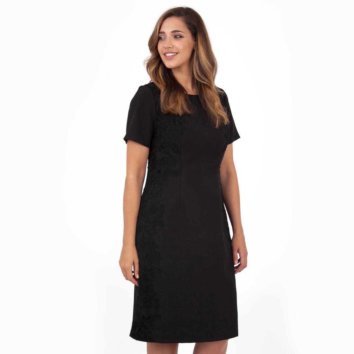 ПлатьеПлатье с короткими рукавами - KOKO BY KOKO. Кружевные детали по бокам, застежка на молнию сзади. Длина ок.104 см. 100% полиэстера.<br><br>Цвет: черный