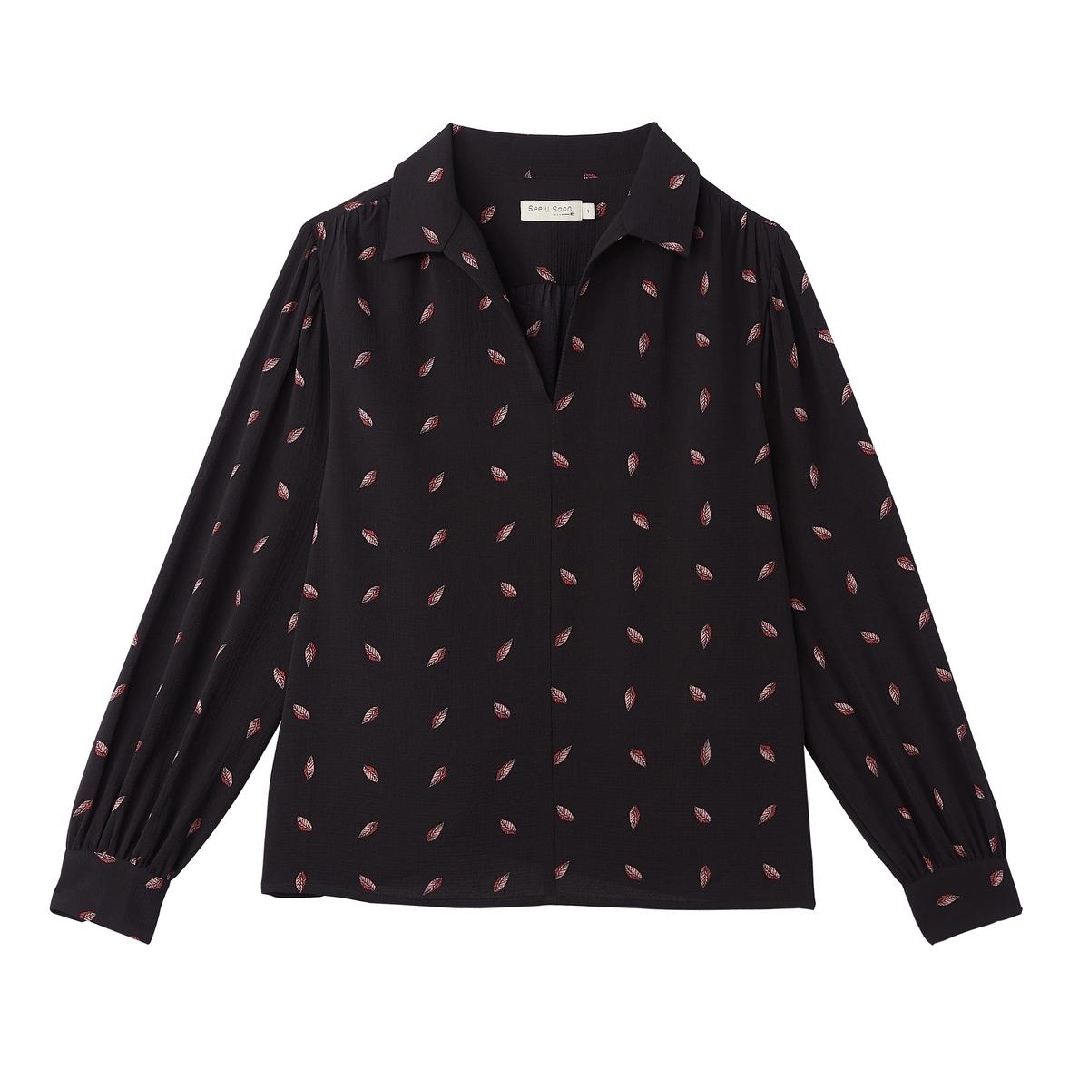 Блузка с v-образным вырезом с принтом и длинными рукавами блузка с принтом