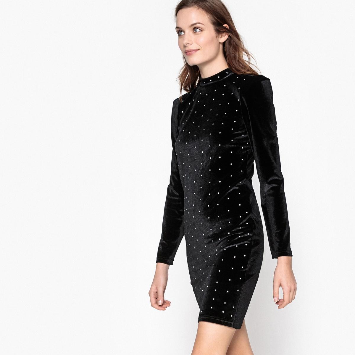 Платье короткое из велюра со стразами