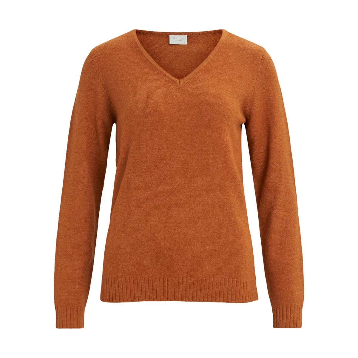 Фото - Пуловер La Redoute С V-образным вырезом из тонкого трикотажа XS каштановый пуловер la redoute с v образным вырезом из тонкого трикотажа florestine 2 m серый