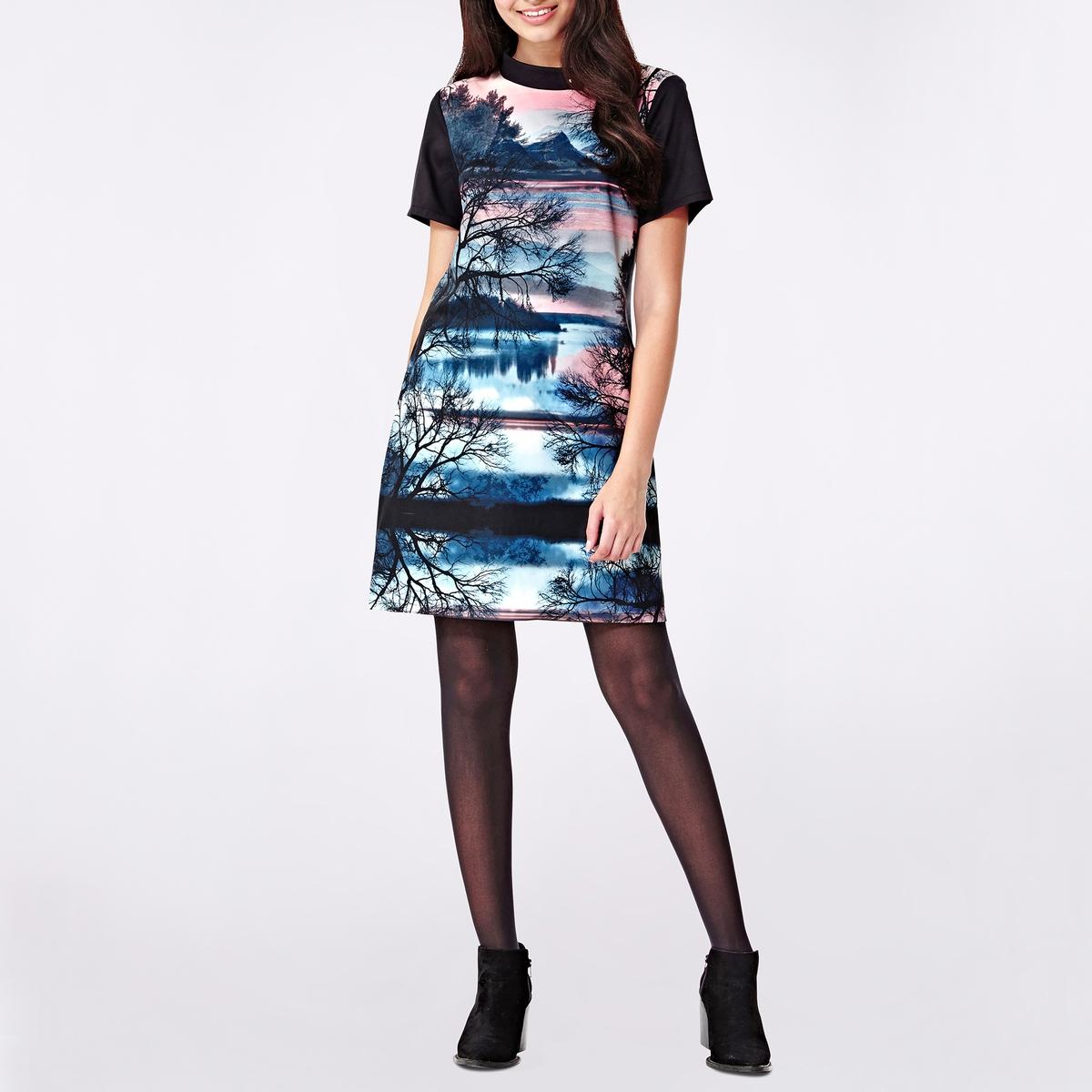 Платье с круглым вырезом и короткими рукавами, с рисункомСостав и описание :Материал : 100% полиэстера.Марка : YUMIУход- Стирать при 30°C с вещами схожих цветов- Стирать и гладить с изнанки<br><br>Цвет: набивной рисунок<br>Размер: 40 (FR) - 46 (RUS)