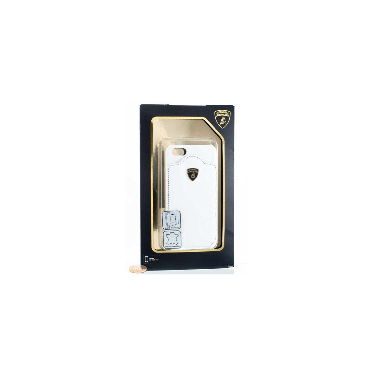 Coque Porte-Carte pour iPhone SE LAMBORGHINI 'DIABLO' Cuir Blanc