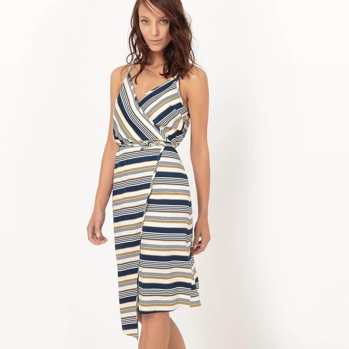 Gekruiste lange jurk met print