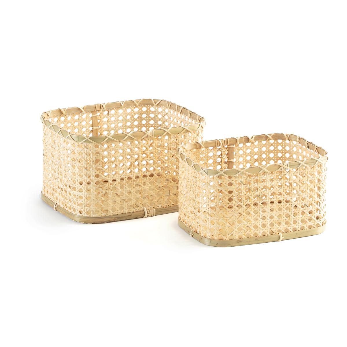 Комплект из низких корзин La Redoute Tobi единый размер бежевый поднос la redoute из ротанга vesprie единый размер бежевый