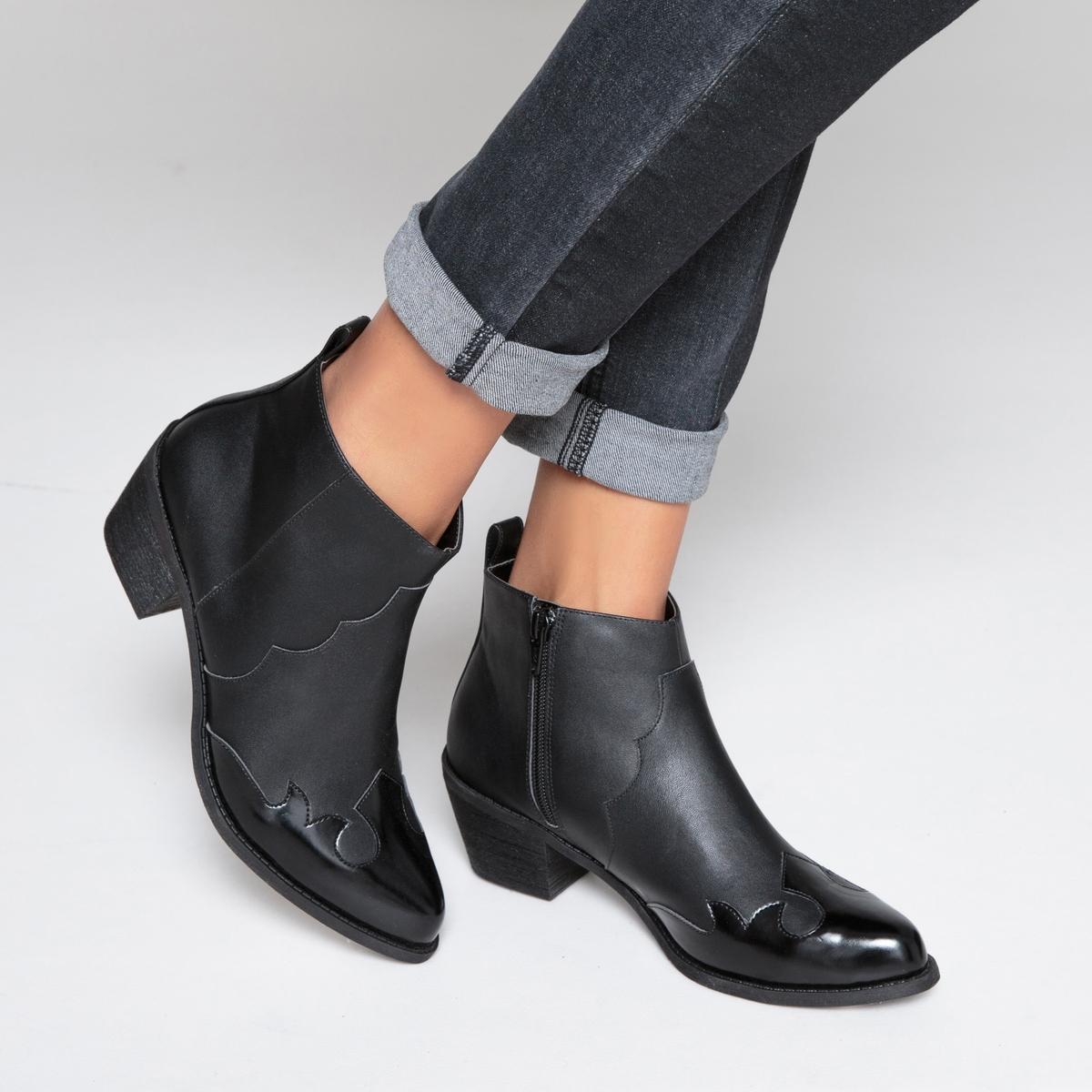 Ботильоны в стиле вестерн на среднем каблуке ботинки в стиле вестерн