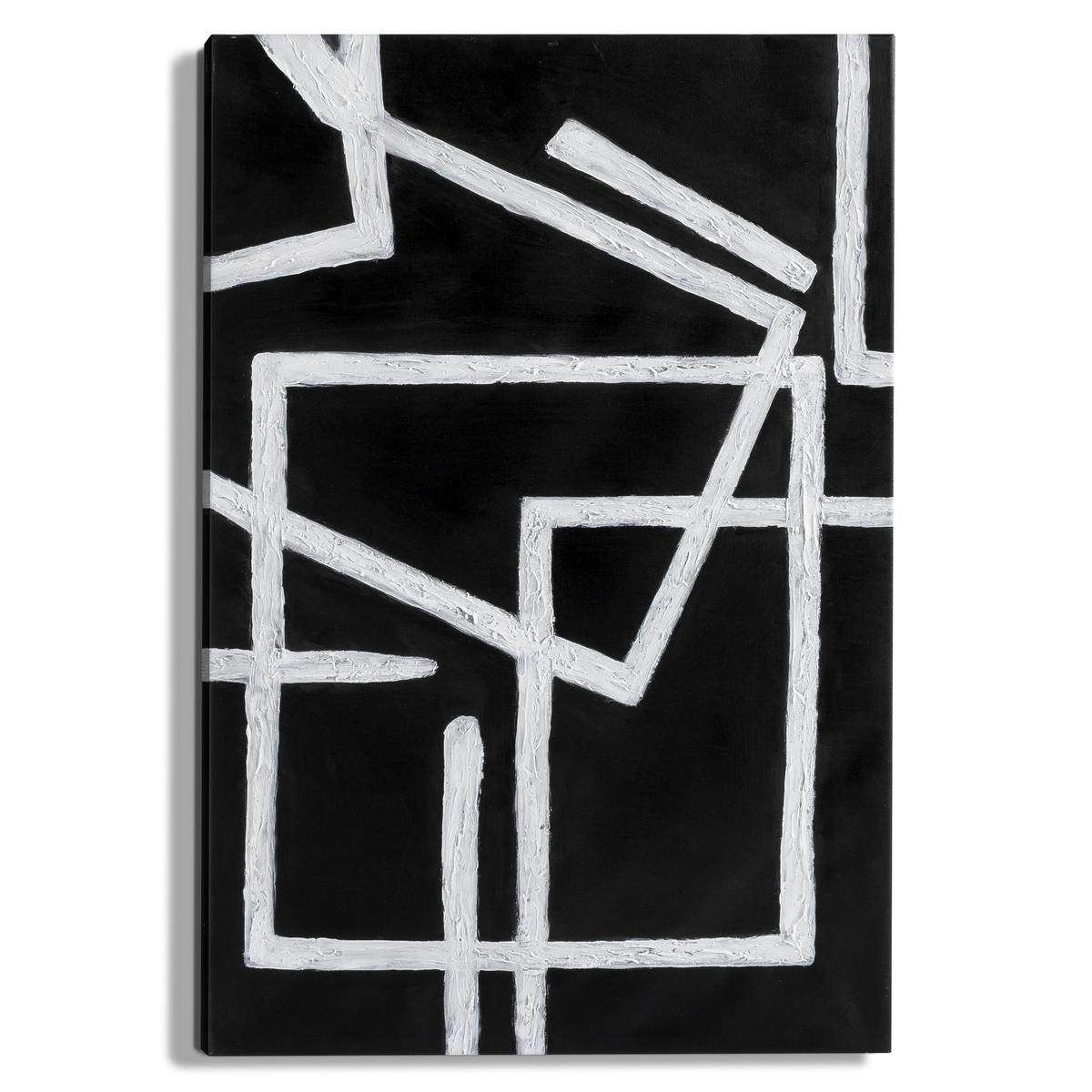Картина MagiaКартина Magia. Этнический белый рисунок на черном фоне, абстрактное искусство в этническом стиле, ручная работа.Характеристики: :- Настоящая картина, ручная работа- Рамка из ели и холст- 1 крюк для крепления на стенуРазмеры : - 60 x 90 см<br><br>Цвет: черный/ белый<br>Размер: единый размер