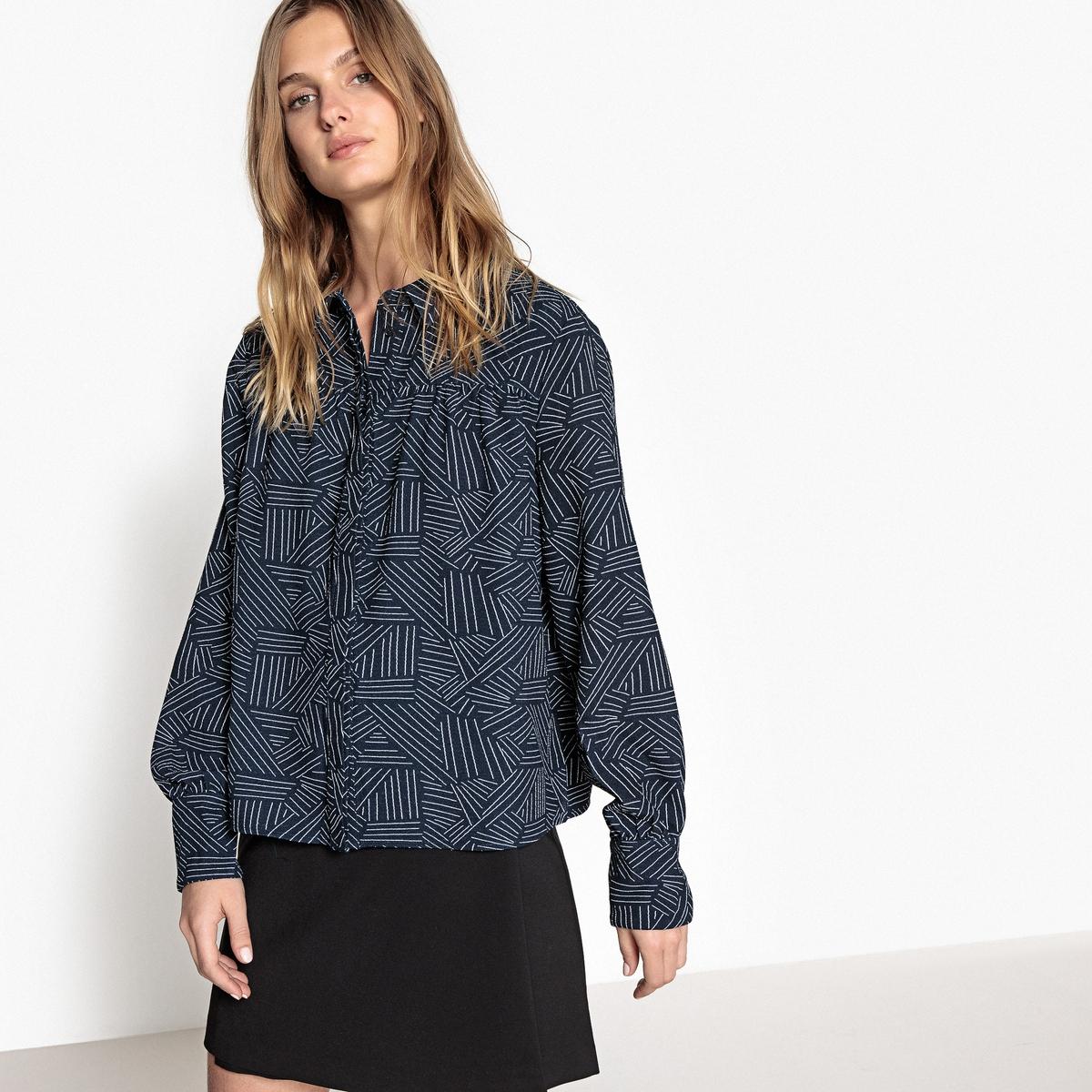 Рубашка с красивым бантом сзади и рисунком в графичную полоску пуловер свободный с воротником с отворотом plunkett