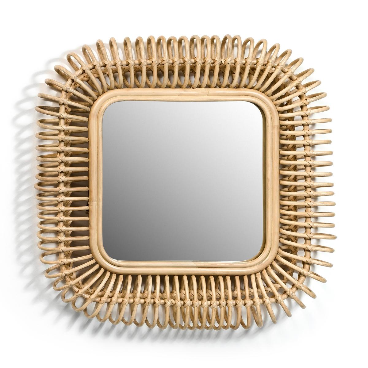 Зеркало квадратное из ротанга Д55 x В55 см, Tarsile