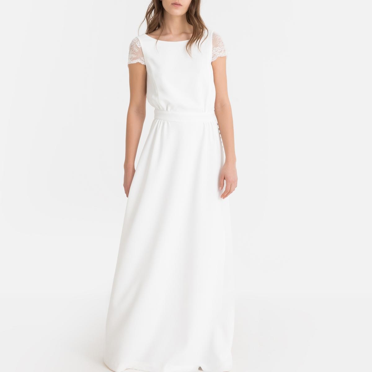 Vestido de noiva comprido, decote em renda atrás