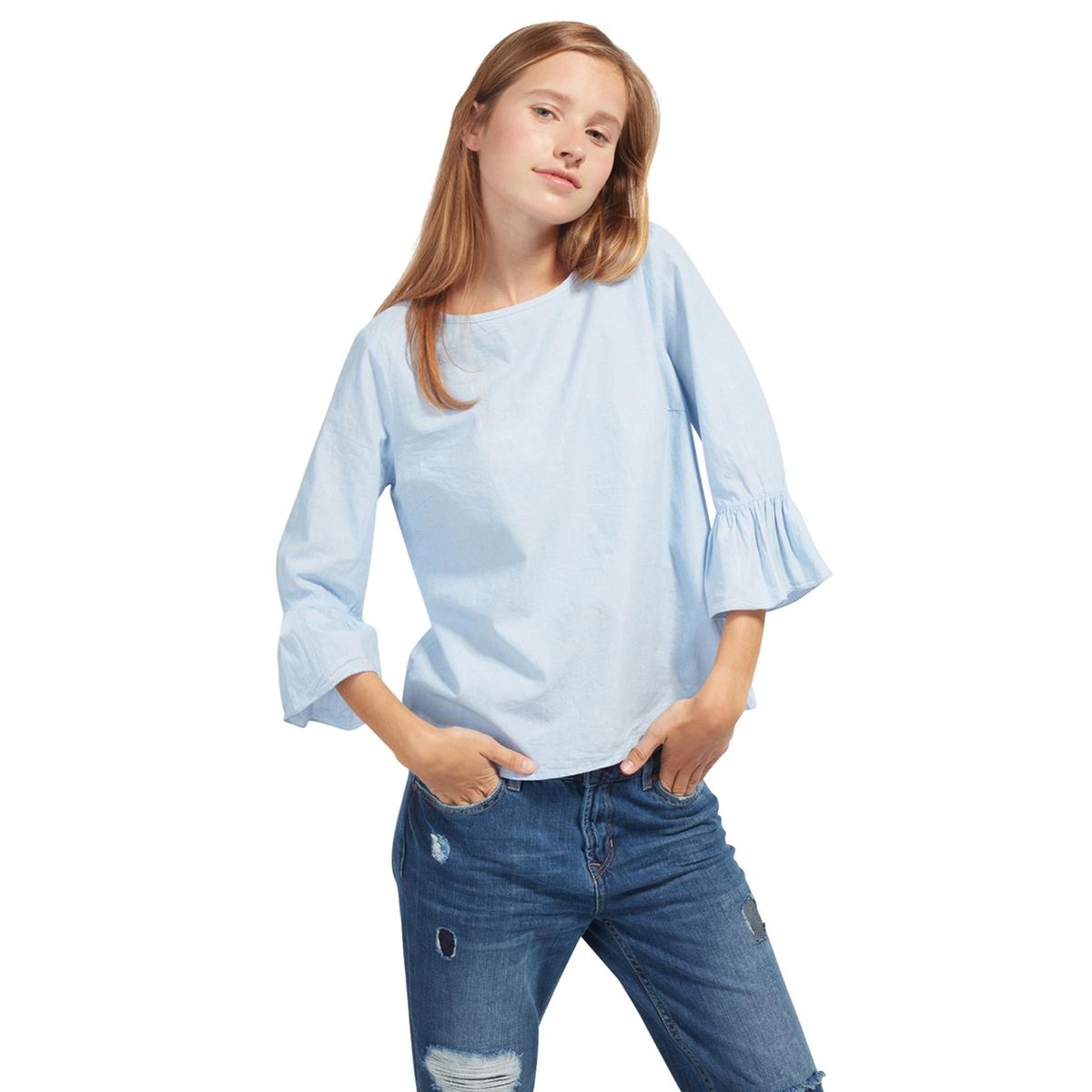 Блузка однотонная с круглым вырезом и рукавами 3/4Детали •  Рукава 3/4 •  Круглый вырезСостав и уход •  100% хлопок  •  Следуйте советам по уходу, указанным на этикетке<br><br>Цвет: синий шамбре<br>Размер: S