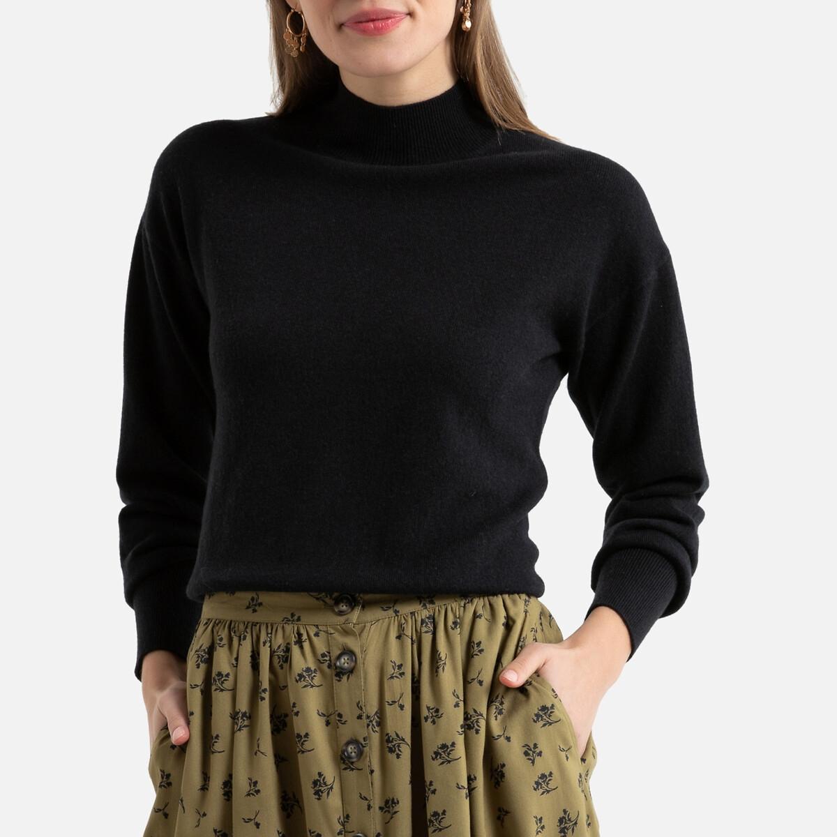 Пуловер La Redoute Из кашемира и шерсти с отворачивающимся воротником L черный